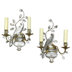 Pair of Parrots Glass and Gilded Sconces by Maison Bagués Paris, 1950s