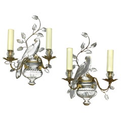 Pair of Parrots Glass and Gilded Sconces by Maison Baguès, Paris, 1950s