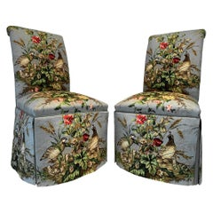 Pair of Parsons Chairs in Scalamandré Iconic Fabric 'Edwin's Covey' Brand-New