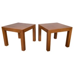 Pair of Parsons Leather Pedestal Tables