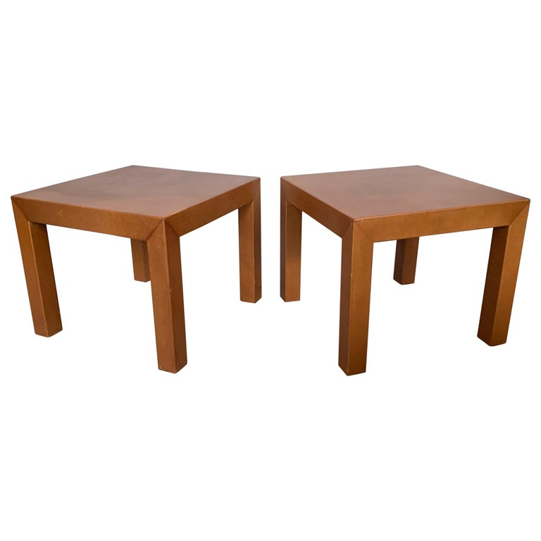 Pair of Parsons Leather Pedestal Tables For Sale