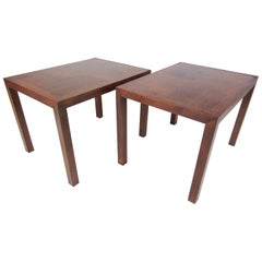 Pair of Parsons Style Walnut Lamp Tables by Lane