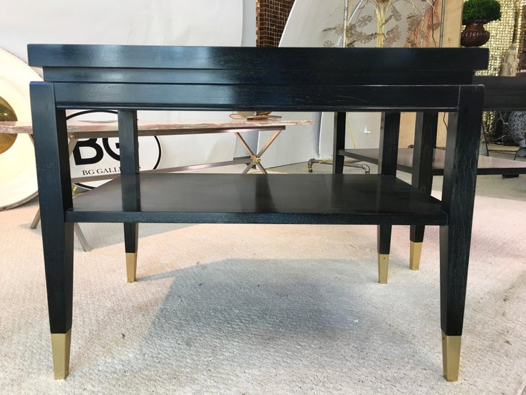 Pair of Parzinger Style Two-Tier End Tables For Sale 2
