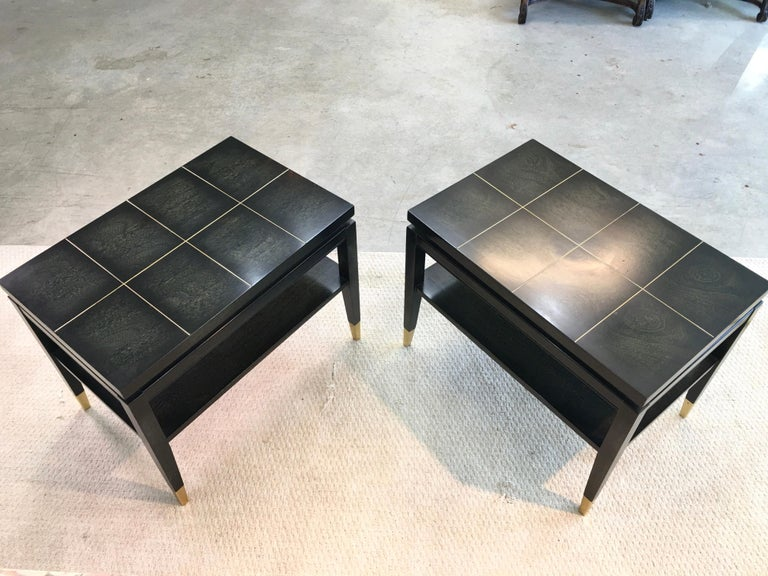 Pair of Parzinger Style Two-Tier End Tables For Sale 3