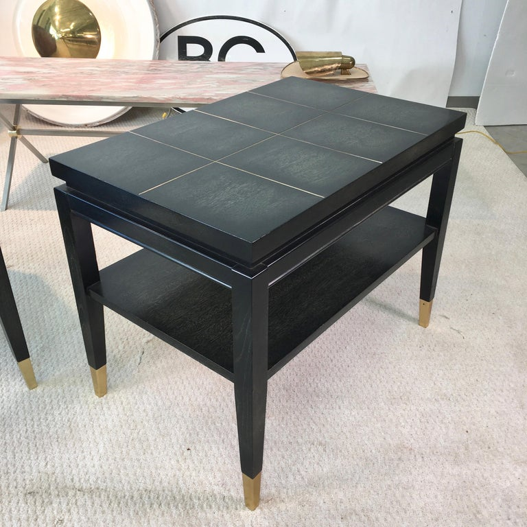 Mid-Century Modern Pair of Parzinger Style Two-Tier End Tables For Sale