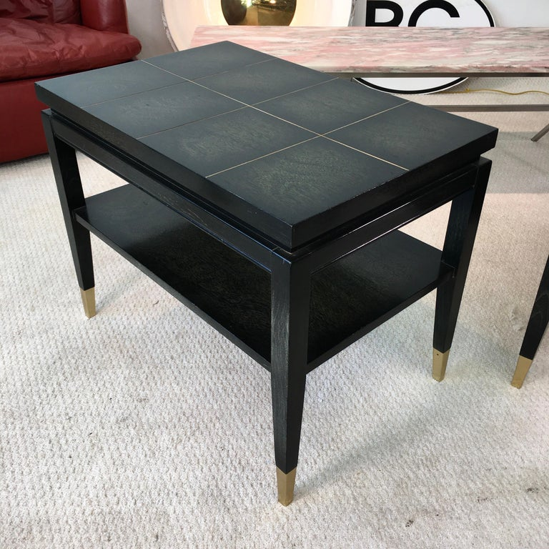 American Pair of Parzinger Style Two-Tier End Tables For Sale