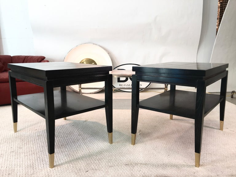 Anodized Pair of Parzinger Style Two-Tier End Tables For Sale