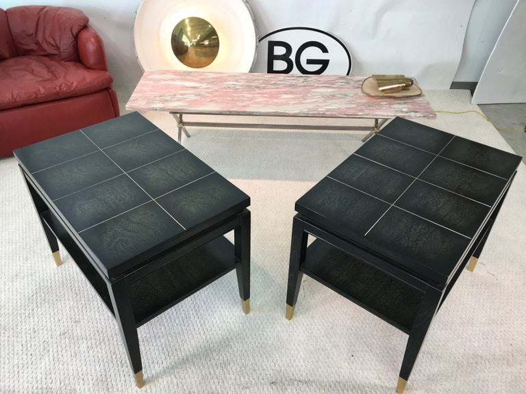 Pair of Parzinger Style Two-Tier End Tables In Good Condition For Sale In Hingham, MA