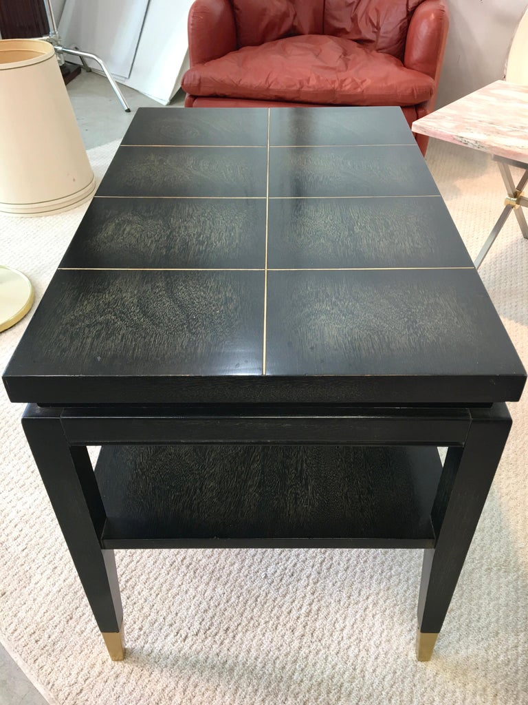 Aluminum Pair of Parzinger Style Two-Tier End Tables For Sale
