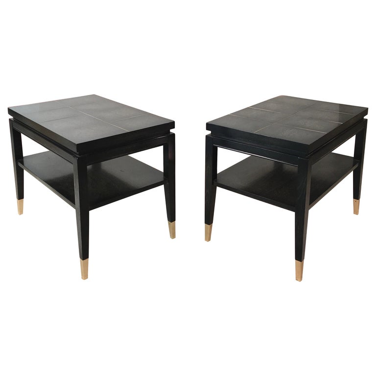 Pair of Parzinger Style Two-Tier End Tables For Sale