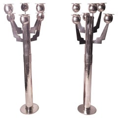 Pair of Pascal de Maurin Modern Hand Hammered French Silver 6-Light Candelabra
