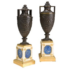 Pair of Patinated and Gilded Bronze Urns Baltics, Empire Period
