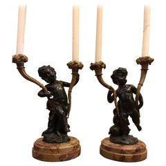 Pair of Patinated and Gilt Bronze 2-Arm Candlesticks