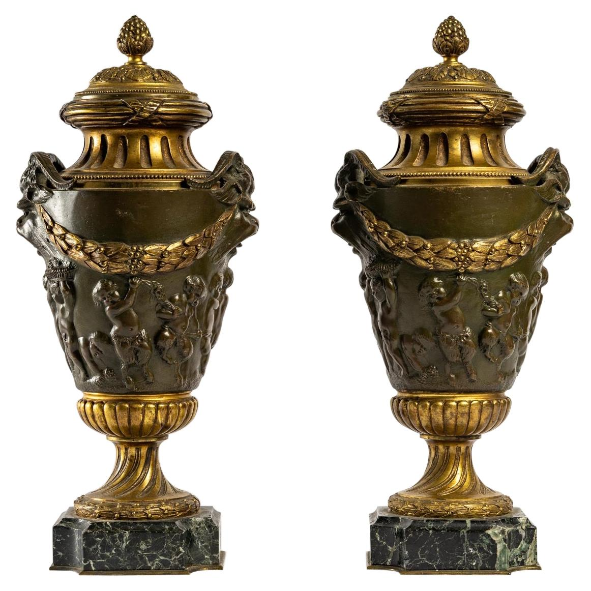 Pair of Patinated and Gilt Bronze Cassolettes