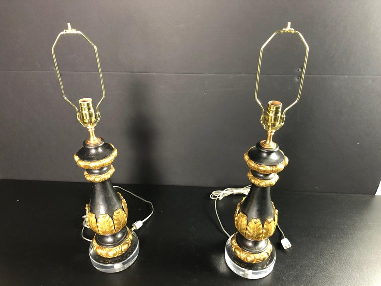Baroque Pair of Baluster Form Lamps Iron and Gilt Bronze  For Sale