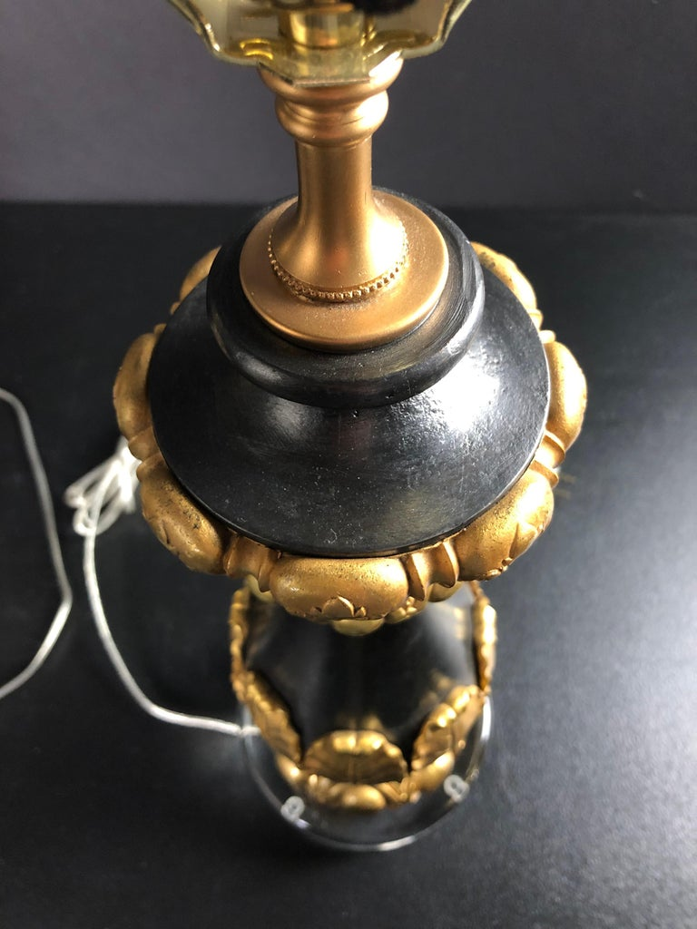 Pair of Baluster Form Lamps Iron and Gilt Bronze  For Sale 2