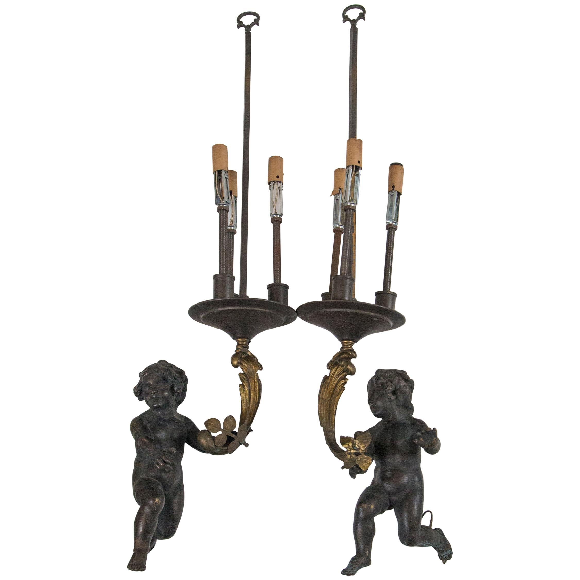 Pair of Patinated and Gilt Bronze Pendant Lights