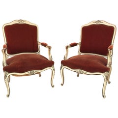 Pair of Patinated Armchairs, Louis XV Style, circa 1930-1950