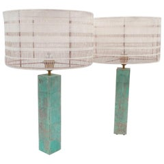 "Pair of Patinated Brass Lamps ""Cubes"""