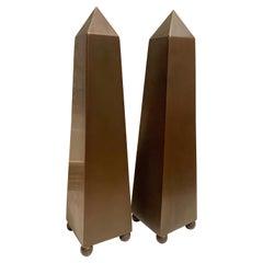 Pair of Patinated Brass Obelisks on Sphere Feet