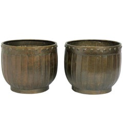 Pair of Patinated Brass Planters