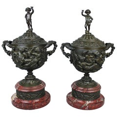 Pair of Patinated Bronze and Marble Urns