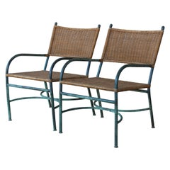 Pair of Patinated Bronze and Wicker Walter Lamb Style Armchairs, USA, 1960s