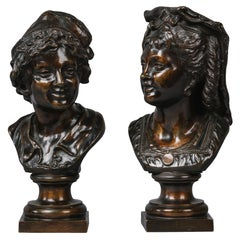 Pair of Patinated Bronze Busts