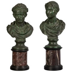 Pair of Patinated Bronze Busts on Marble Stands, circa 1800