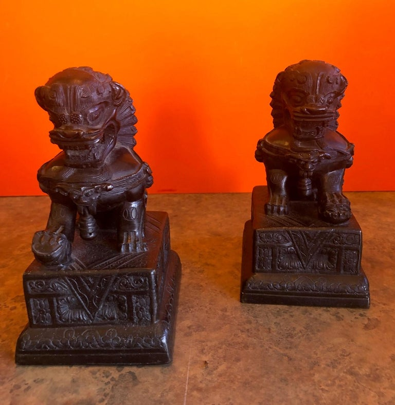 Pair of Patinated Bronze Chinese Foo Dogs / Book Ends For Sale 6