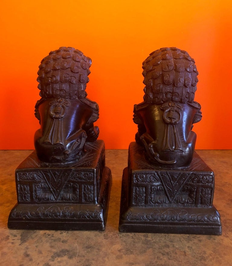 Pair of Patinated Bronze Chinese Foo Dogs / Book Ends For Sale 2