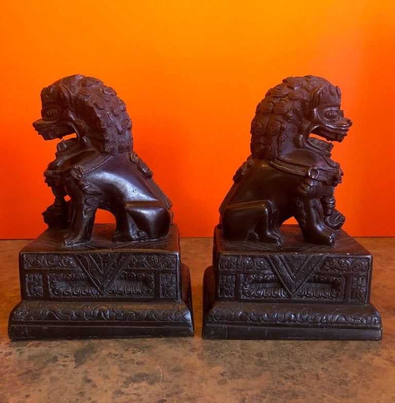 Pair of Patinated Bronze Chinese Foo Dogs / Book Ends For Sale 3