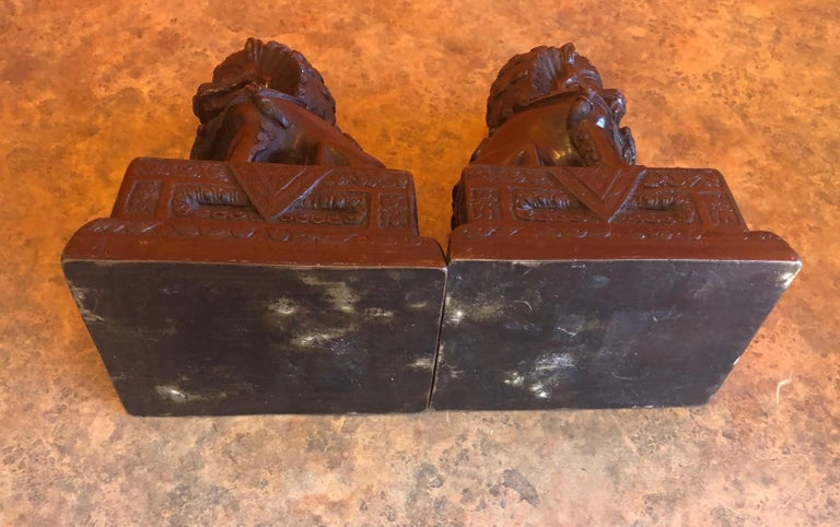 Pair of Patinated Bronze Chinese Foo Dogs / Book Ends For Sale 4