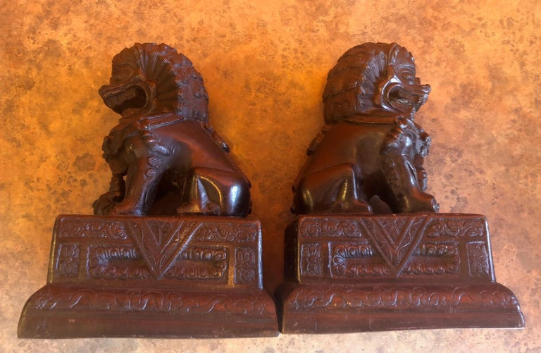 Pair of Patinated Bronze Chinese Foo Dogs / Book Ends For Sale 5