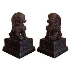 Pair of Patinated Bronze Chinese Foo Dogs / Book Ends