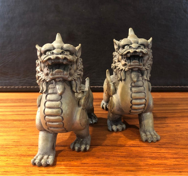 Pair of Patinated Bronze Chinese Foo Dogs For Sale 1