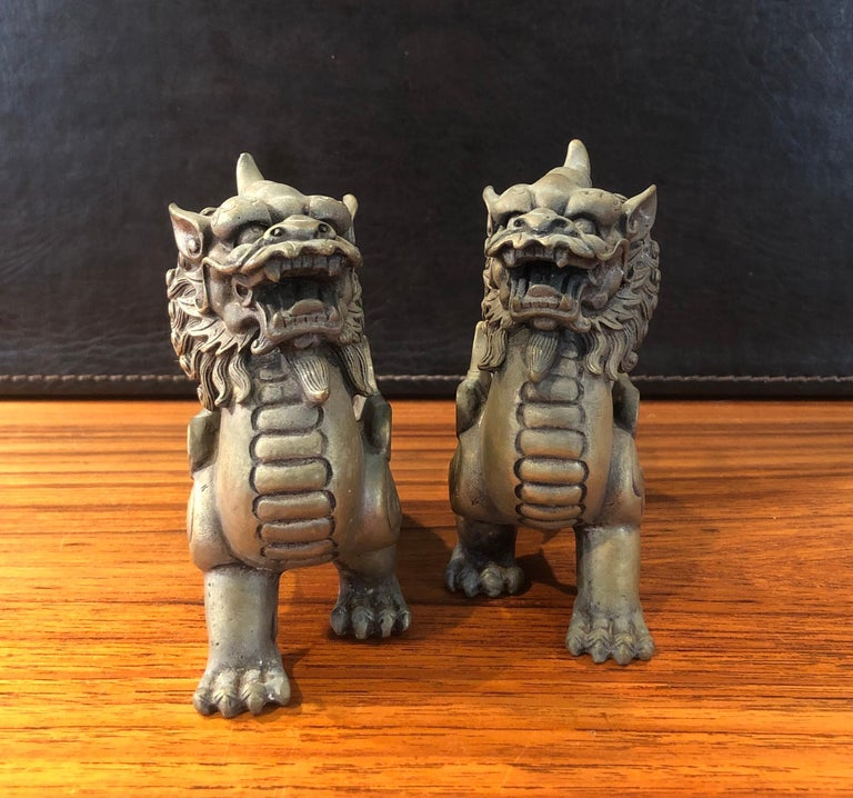 Pair of Patinated Bronze Chinese Foo Dogs For Sale 2