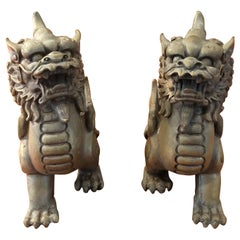 Pair of Patinated Bronze Chinese Foo Dogs
