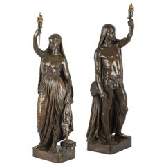 Pair of Patinated Bronze Figural Torchères by F. Barbedienne