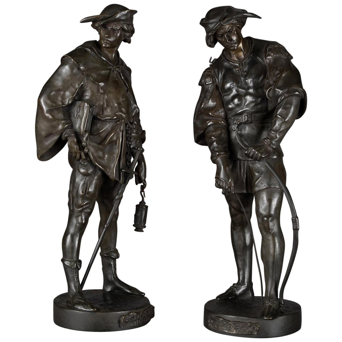 Pair of Patinated Bronze Figures by Émile Louis Picault, circa 1890