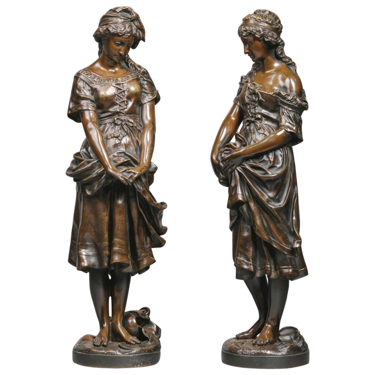 Pair of Patinated Bronze Figures by Jean-Baptiste Germain