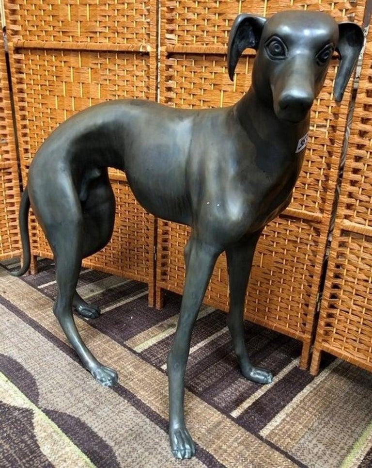 Pair of Patinated Bronze Greyhound Dogs In Good Condition For Sale In Cypress, CA