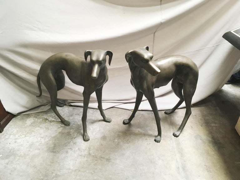 Pair of Patinated Bronze Greyhound Dogs For Sale 2