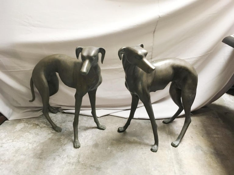 Pair of Patinated Bronze Greyhound Dogs For Sale 3