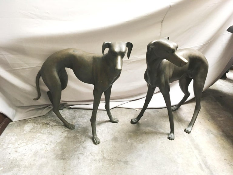 Pair of Patinated Bronze Greyhound Dogs For Sale 4