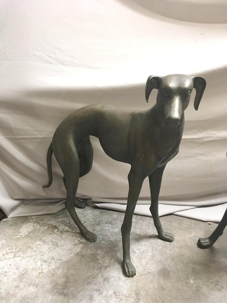 Pair of Patinated Bronze Greyhound Dogs For Sale 5