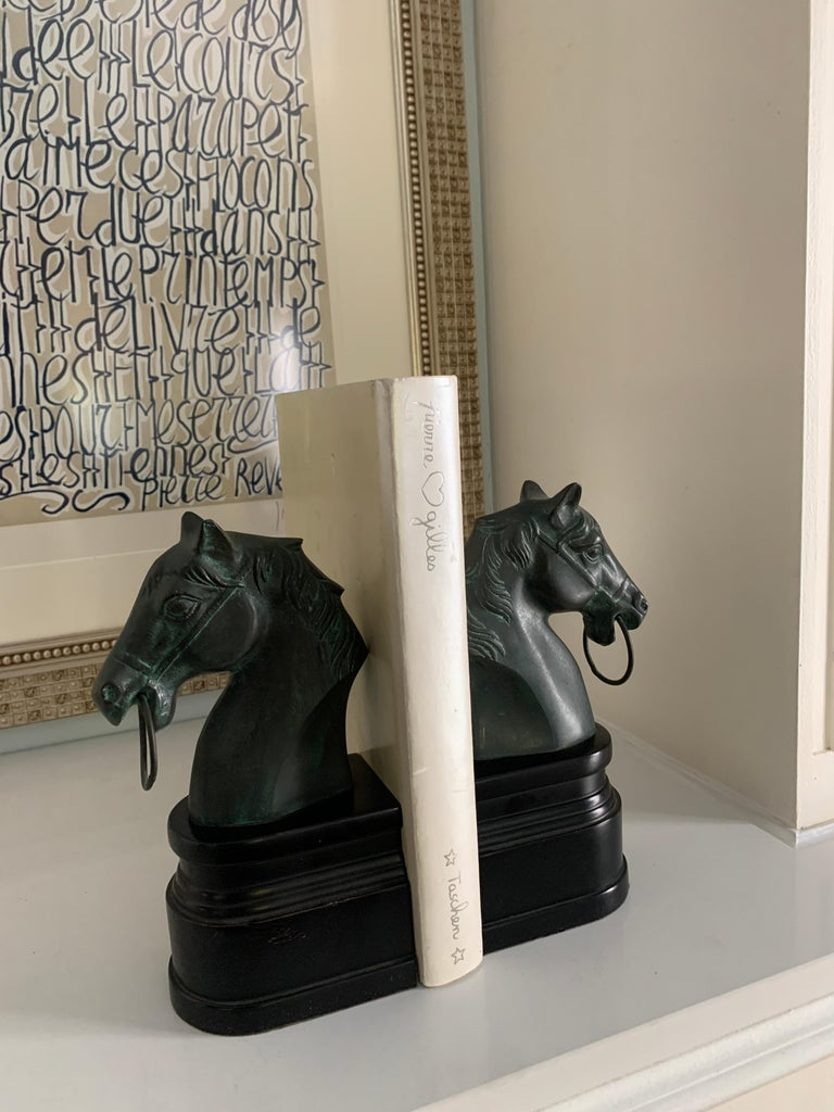 Lacquered Pair of Patinated Bronze Horse Head Bookends on Stand For Sale