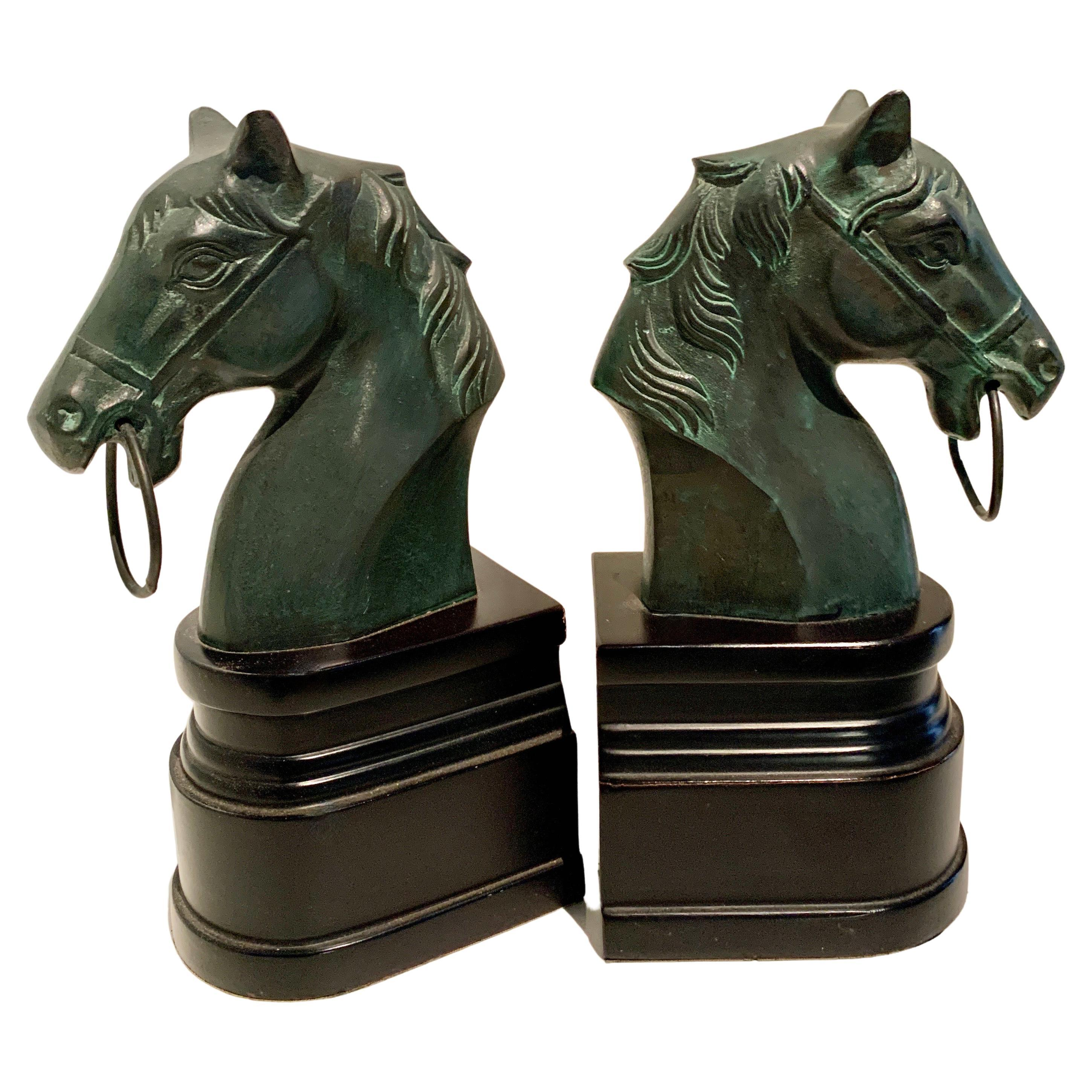 Pair of Patinated Bronze Horse Head Bookends on Stand