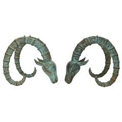Pair of Patinated Bronze Ibex Ram's Head Sculptural Figures, Style of Chervet