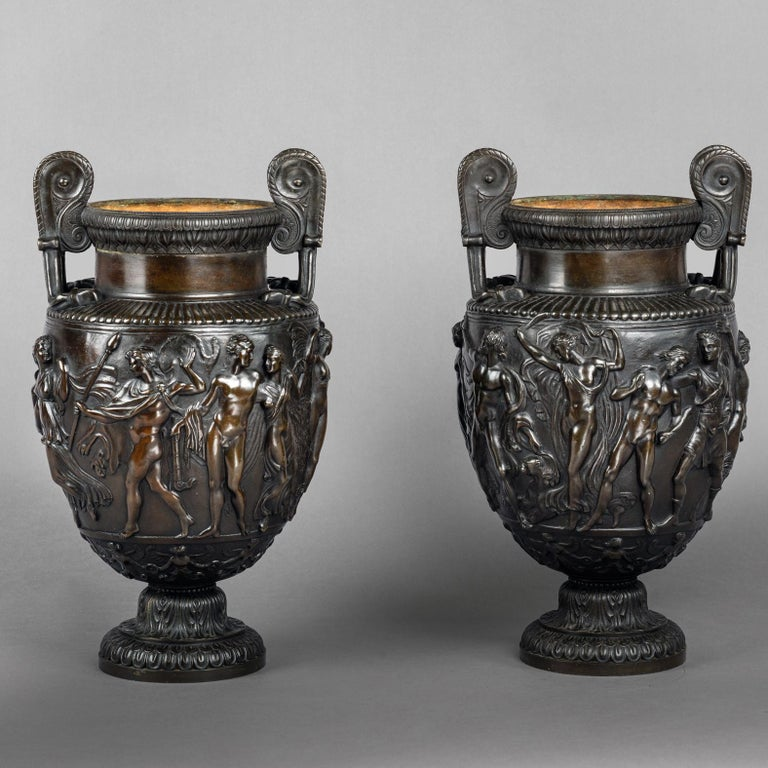 Classical Roman Pair of Patinated Bronze Models of the Townley Vase Cast by Delafontaine For Sale